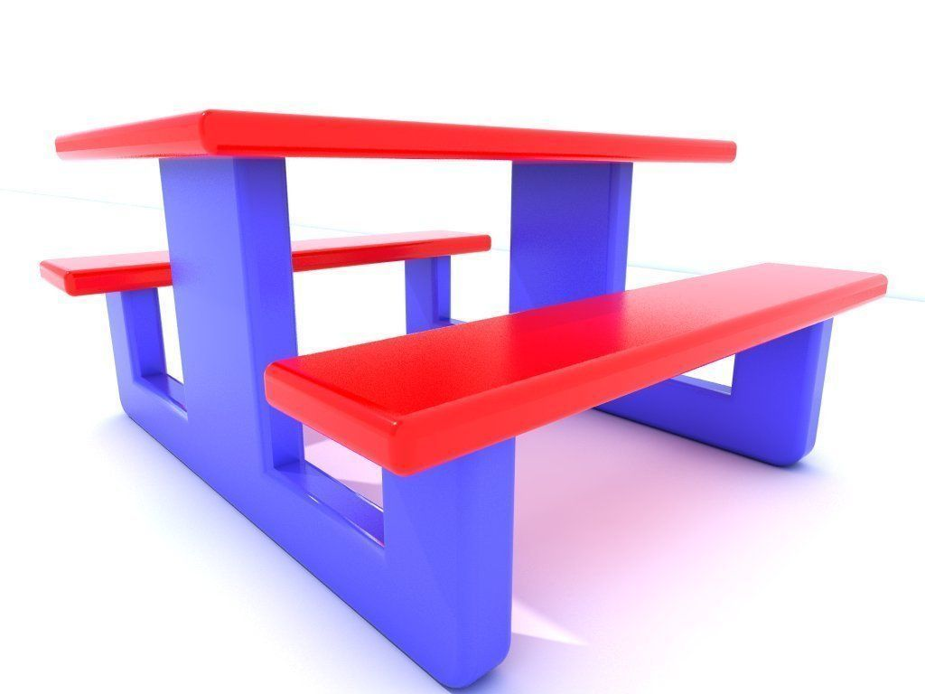D model bench seat vr ar low poly obj cgtrader