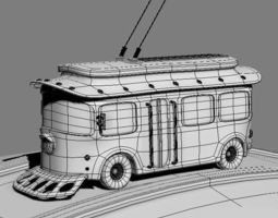 Trolleybus cartoon 3D Model