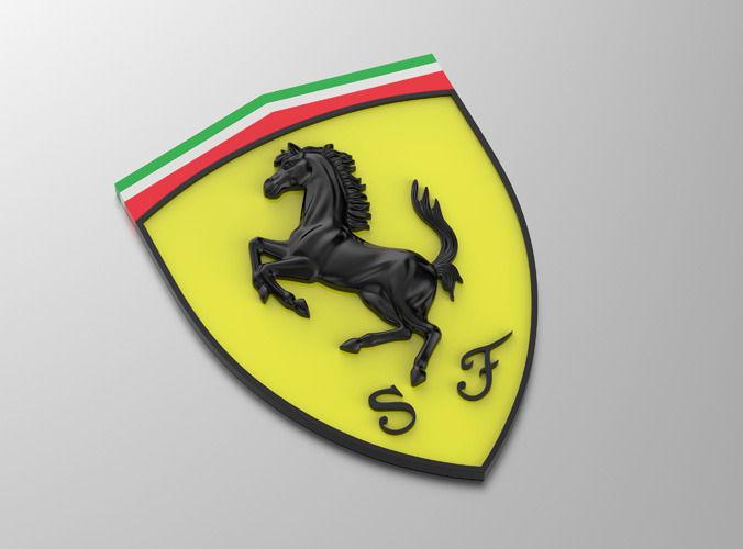3d model ferrari logo with horse and cuneiform shield vr