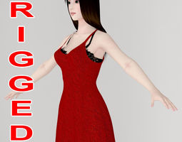 T pose rigged model of Akari in red dress rigged