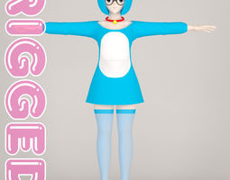 T pose rigged model of Doraemon toon girl rigged