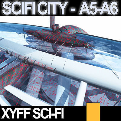 Sci fi city futuristic architecture a5 a6 3d model obj 3ds for Architecture 3d vue 3d