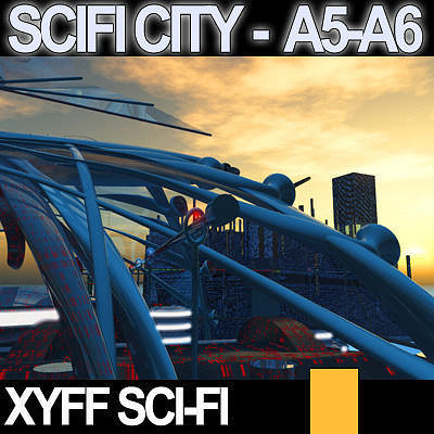 3d model sci fi city futuristic architecture a5 a6. Black Bedroom Furniture Sets. Home Design Ideas