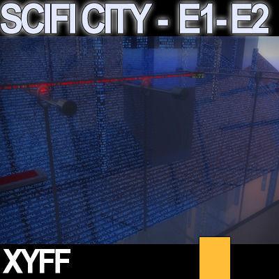Sci fi city futuristic architecture e1 e2 3d model obj 3ds - Architecture 3d vue 3d ...