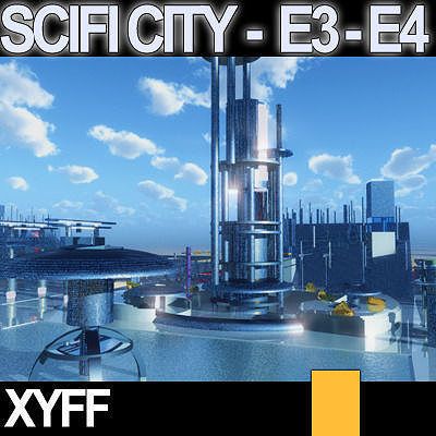 Sci fi city futuristic architecture e3 e4 3d model obj 3ds for Architecture 3d vue 3d