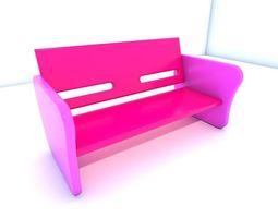 Bench seat pink 3D asset