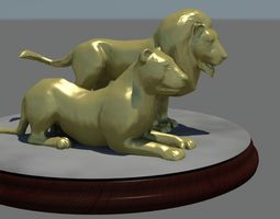 Male and female lions on base 3D printable model