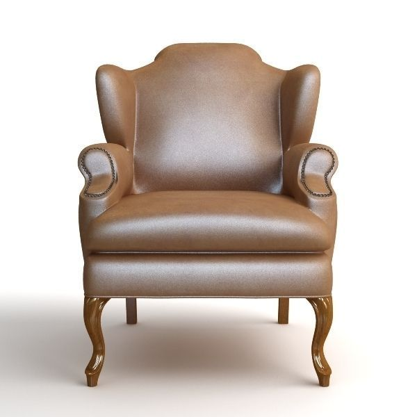 leather wing chair 2 3d model max obj 3ds fbx mtl 2