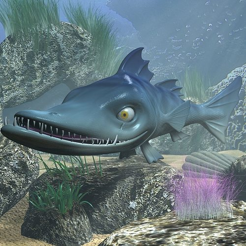 cartoon barracuda fish rigged 3d model rigged animated max obj mtl 3ds fbx stl 1