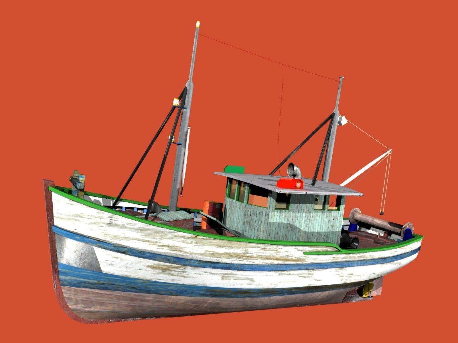 Trawler fao fishing boat 3d model max obj blend wrl wrz for Model fishing boats