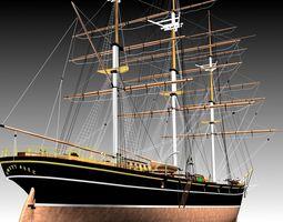 cutty sark clipper - xix century freighter 3d
