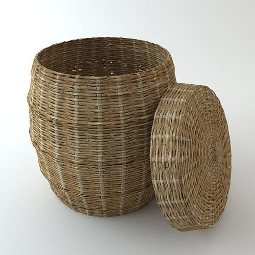 wicker basket with cover 3d model max obj mtl 3ds fbx 1