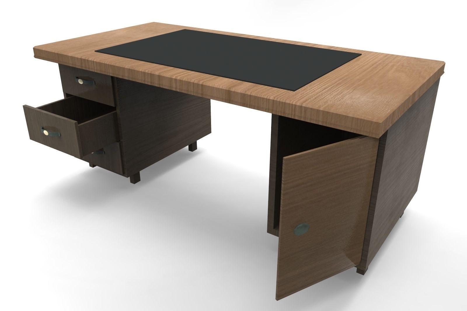 Work Table Black 3d Model Low Poly Obj 3ds Fbx Tga 4