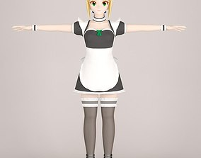 3D T pose nonrigged model of Saber maid