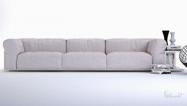 3d model modern long sofa cgtrader for Long couch chair