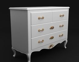 Antique White Dresser 2 3D Model