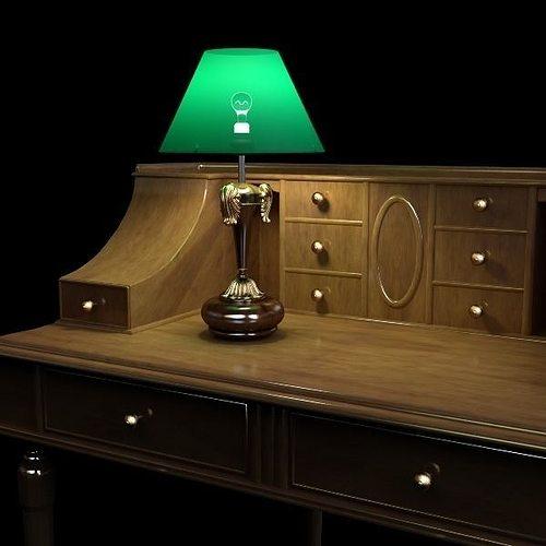 desk and lamp set 3d model max obj mtl 3ds fbx unitypackage prefab 1