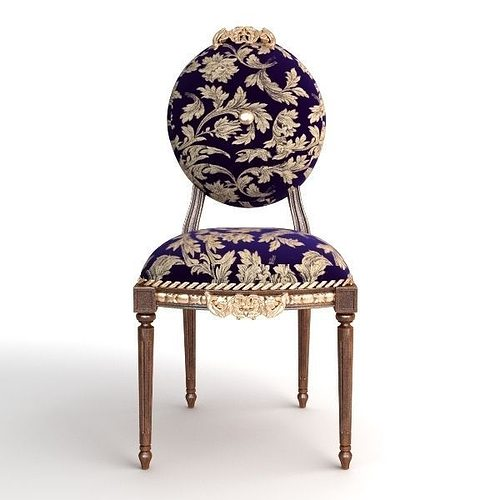 ... antique chair brocade armless 2 3d model max obj mtl 3ds fbx 4 ... - 3D Model Antique Chair Brocade Armless 2 CGTrader