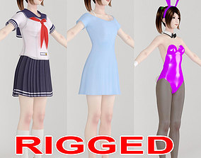 T pose rigged model of Natsumi with various outfit rigged