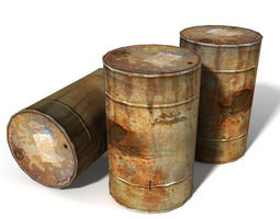 Rusty 55 Gallon Steel Drum 3D asset