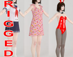 rigged T pose rigged model of Mariko with various outfit