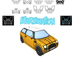 3D asset Mini Car Paper Cut Out