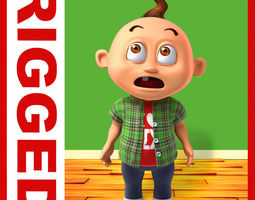 Boy cartoon rigged 04 3D