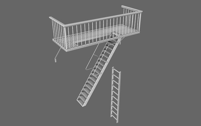 Urban balcony 3d cgtrader for Balcony models