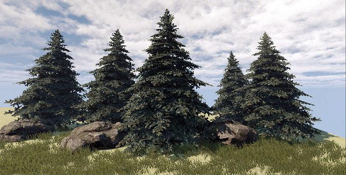 fir tree 3d model low-poly max obj fbx tga 1
