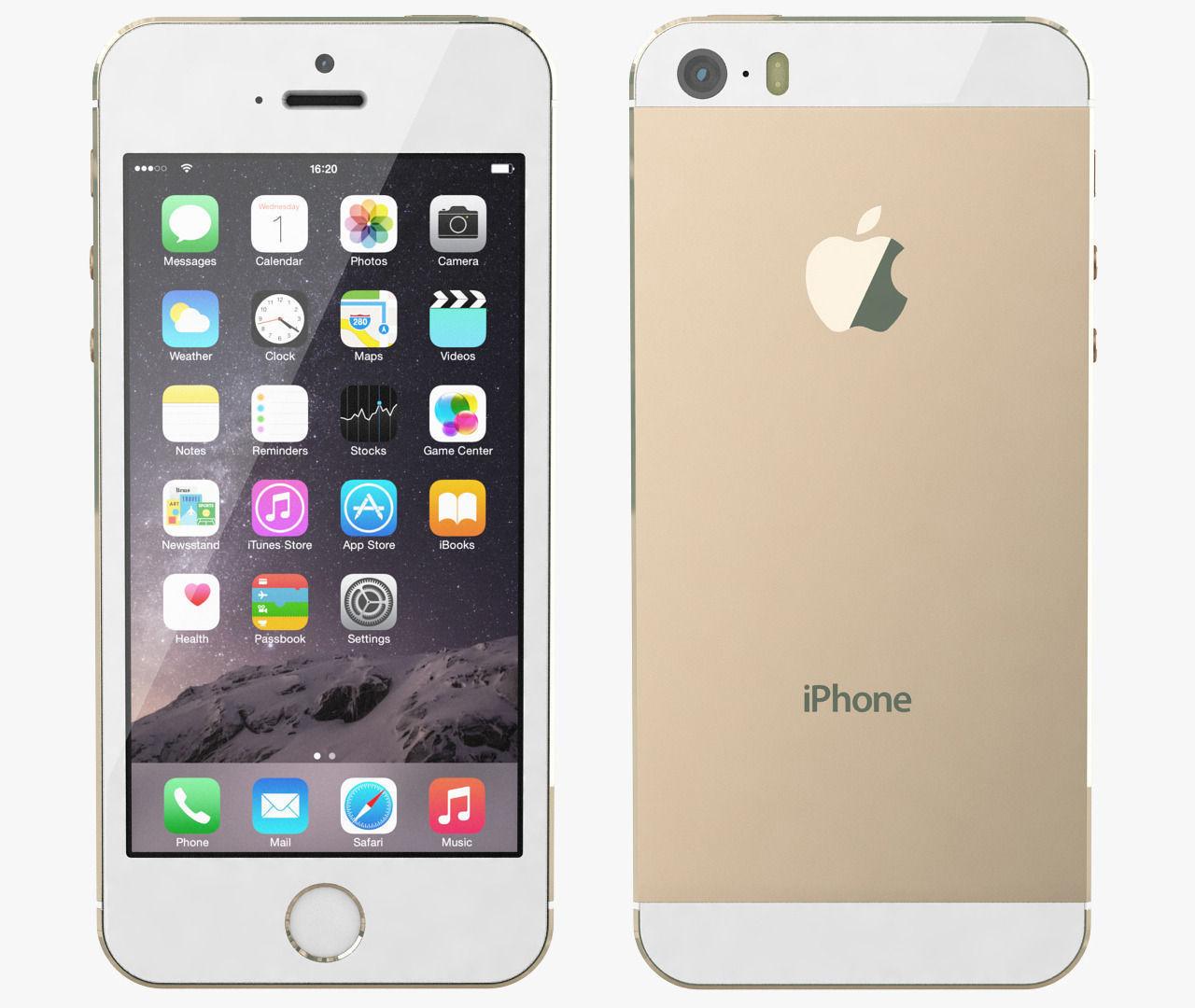 apple iphone 5s all color 3d model max obj. Black Bedroom Furniture Sets. Home Design Ideas