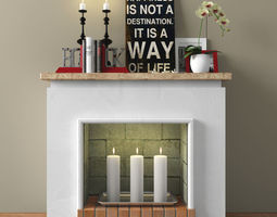 Decorative fireplace with accessories 3D model