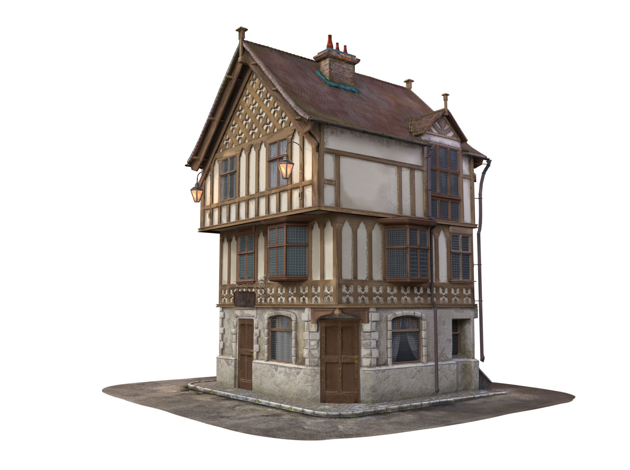 Medieval house 3d model max obj lxo lxl mtl for Exterior 3d model