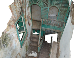 3d old stairway in abandoned house - hd scan