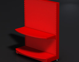 3D model Small halfcircle red store stand