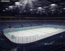 hockey arena game-ready 3d asset