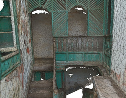 low-poly 3d asset old stairway in abandoned house - lowpoly