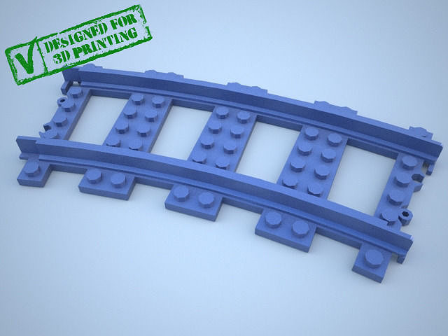 lego train track curved w support 3d model stp 1