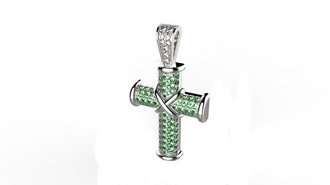 fashion cross with stones 3d model stl 3dm 1