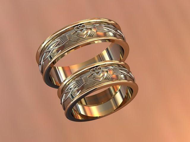 Claddagh wedding bands 3D printable model CGTrader