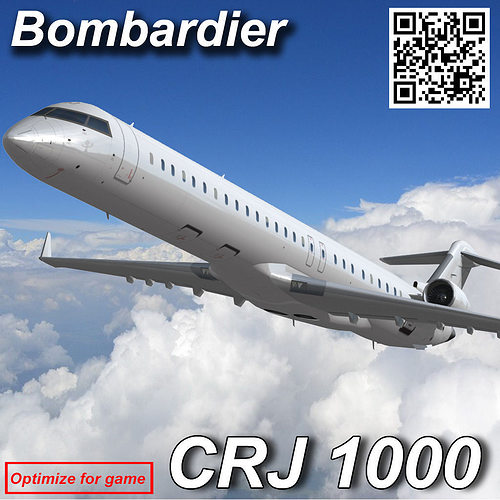 bombardier crj 1000 3d model low-poly animated max 1