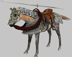 3D model animated game-ready Horse