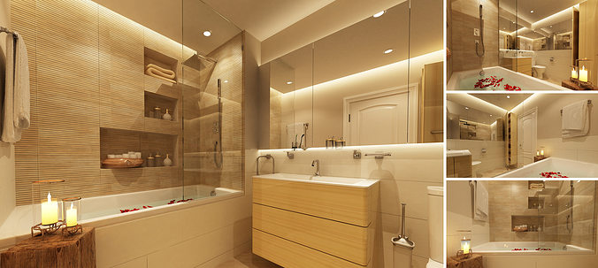 3d Model Master Bathroom Cgtrader