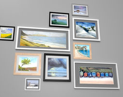 Picture Frames And Paintings 3D asset