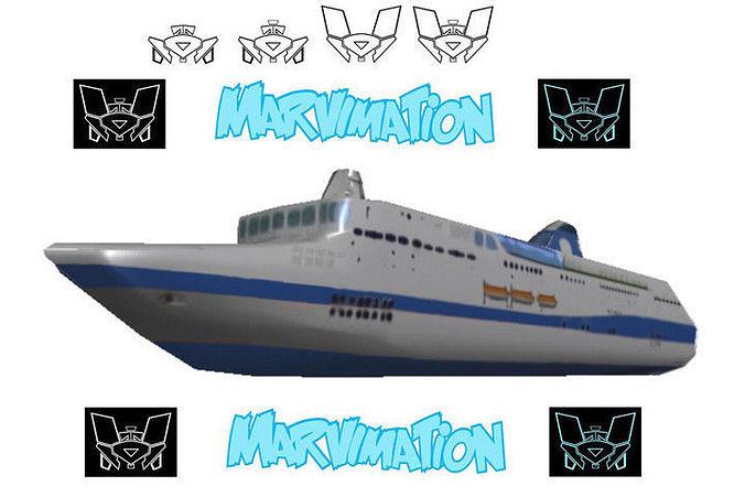 crusie ship paper cut out 3d model low-poly obj mtl 1