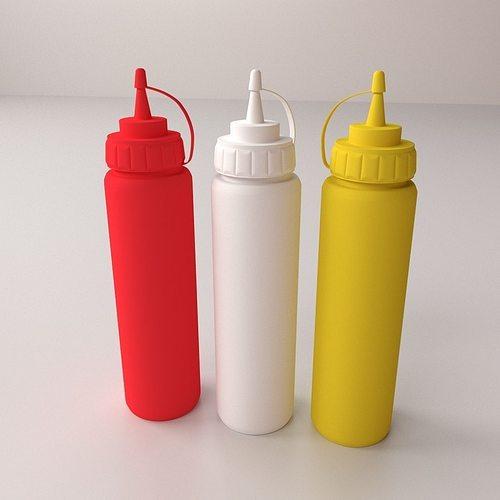 sauce bottles 3d model 3ds fbx blend dae 1