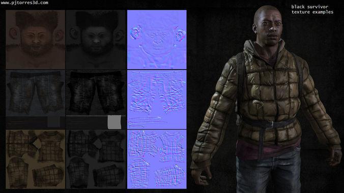 black man sur 3d model low-poly max obj tga 5