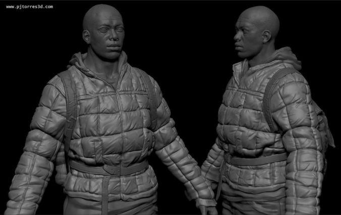 black man sur 3d model low-poly max obj tga 4