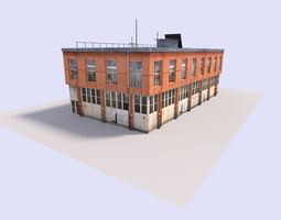 3D asset low poly warehouse