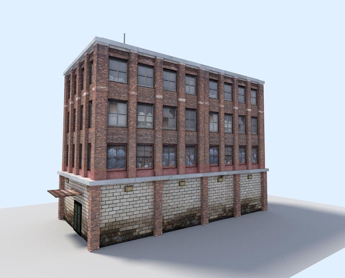 City flat house 3d model low poly obj 3ds fbx blend dae x3d 4