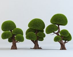 cartoon trees set 3d model